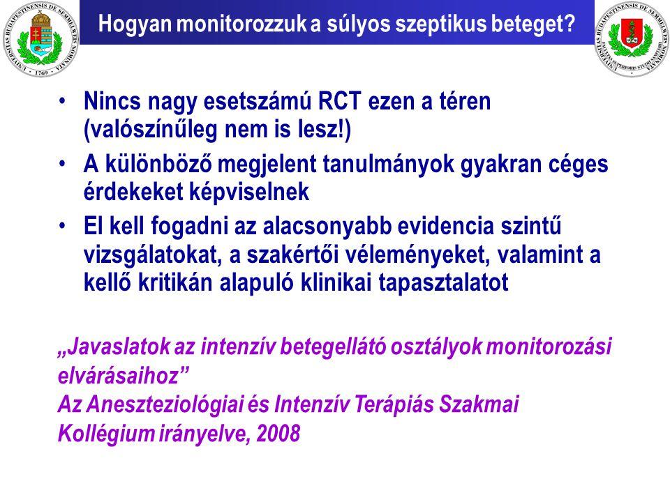 Hogyan monitorozzuk a súlyos szeptikus beteget? Nincs nagy esetszámú RCT ezen a téren (valószínűleg nem is lesz!) A különböző megjelent tanulmányok gy