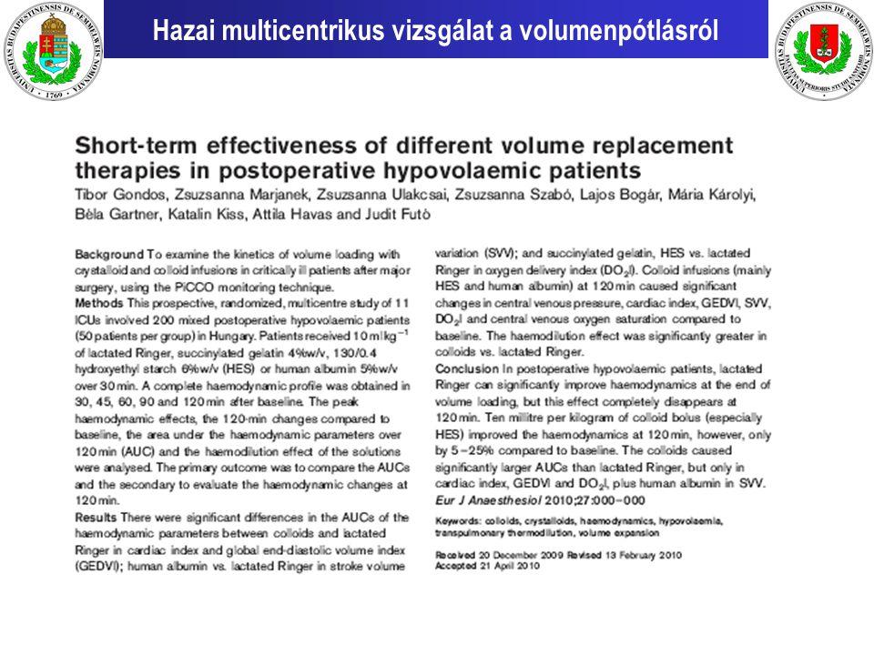 Hazai multicentrikus vizsgálat a volumenpótlásról