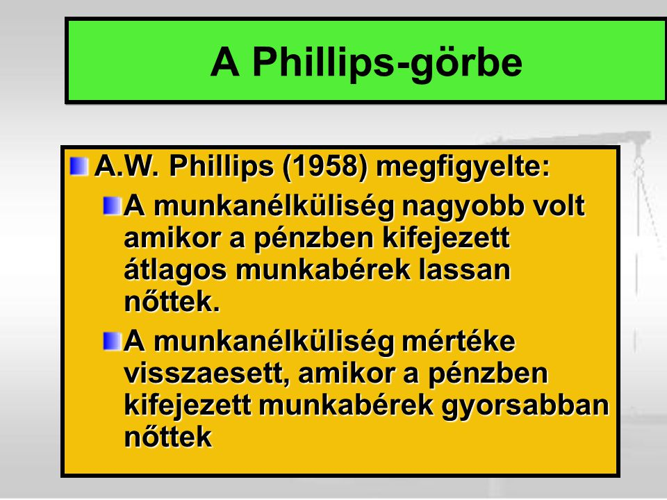 A Phillips-görbe A.W.