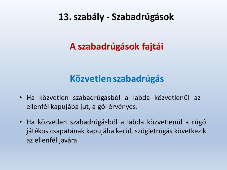 13. szabály - Szabadrúgások A szabadrúgások fajtái Közvetlen szabadrúgás Ha közvetlen szabadrúgásból a labda közvetlenül az ellenfél kapujába jut, a g