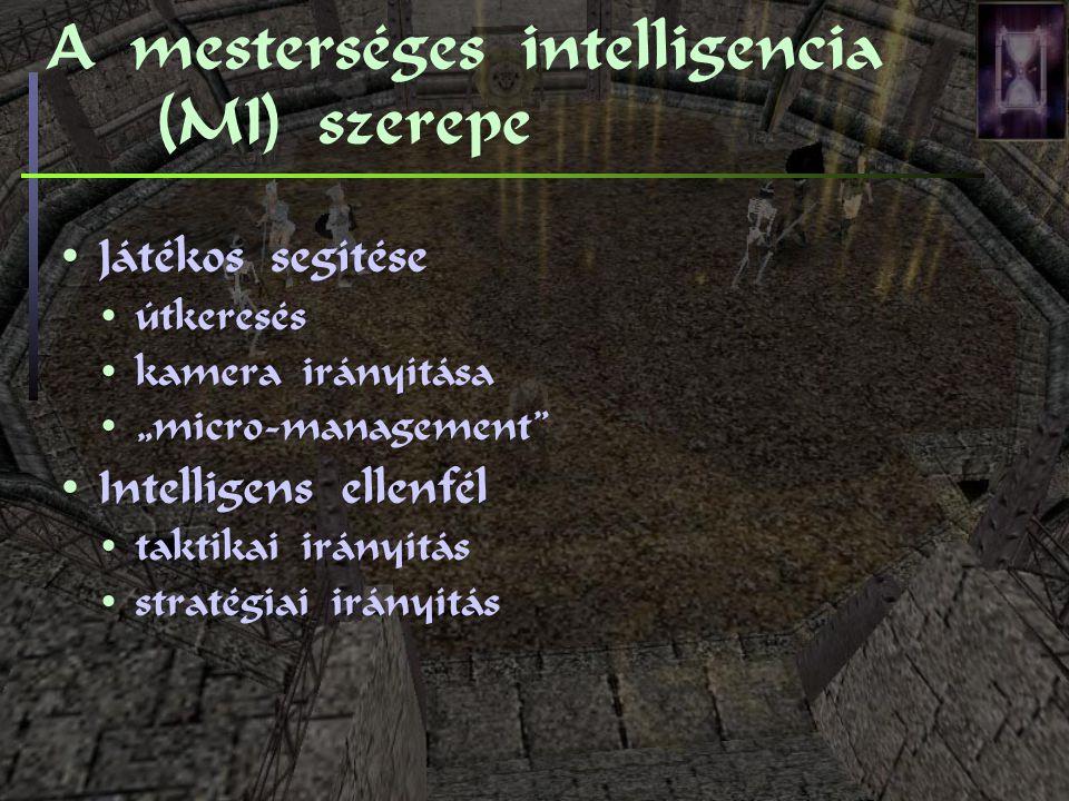 """A mesterséges intelligencia (MI) szerepe Játékos segítése útkeresés kamera irányítása """"micro-management Intelligens ellenfél taktikai irányítás stratégiai irányítás"""