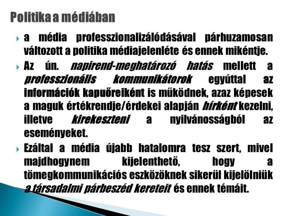  a média professzionalizálódásával párhuzamosan változott a politika médiajelenléte és ennek mikéntje.