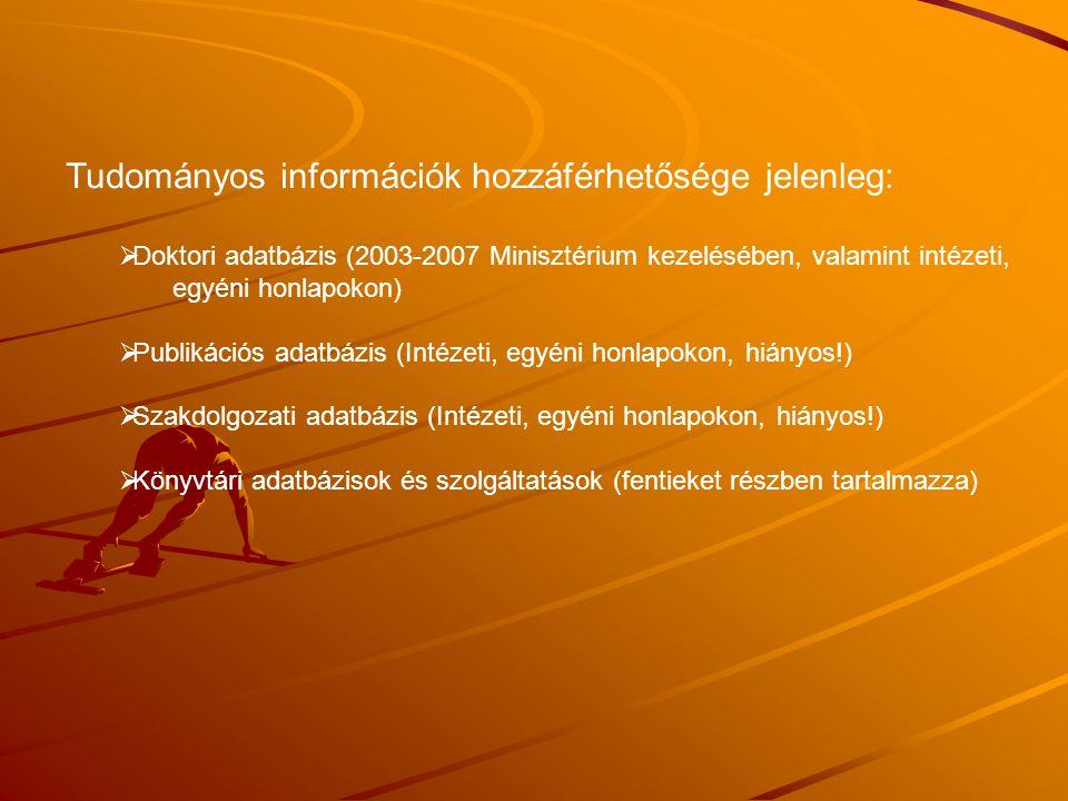 Lehetőségek és módszerek:  Dokumentumtárhoz és könyvtári adatbázisokhoz kapcsolódó web-es alkalmazás, amely lehetőséget ad a felhasználóknak (oktató, kutató, PhD hallgató) arra, hogy saját tartalmakat hozzanak létre és töltsenek fel a rendszerbe.