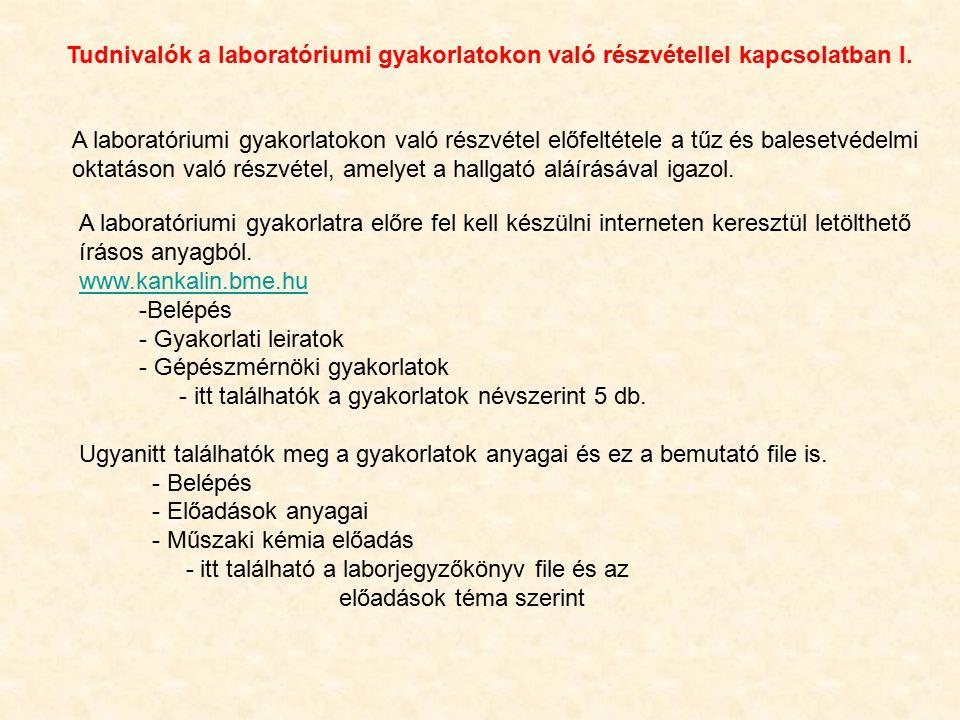 Tudnivalók a laboratóriumi gyakorlatokon való részvétellel kapcsolatban II.