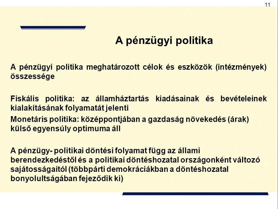 11 A pénzügyi politika A pénzügyi politika meghatározott célok és eszközök (intézmények) összessége Fiskális politika: az államháztartás kiadásainak é
