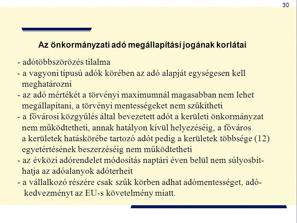 30 Az önkormányzati adó megállapítási jogának korlátai - adótöbbszörözés tilalma - a vagyoni típusú adók körében az adó alapját egységesen kell meghat