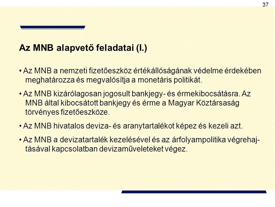 37 Az MNB alapvető feladatai (I.) Az MNB a nemzeti fizetőeszköz értékállóságának védelme érdekében meghatározza és megvalósítja a monetáris politikát.