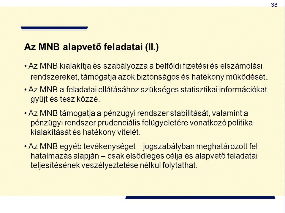 38 Az MNB alapvető feladatai (II.) Az MNB kialakítja és szabályozza a belföldi fizetési és elszámolási rendszereket, támogatja azok biztonságos és hat