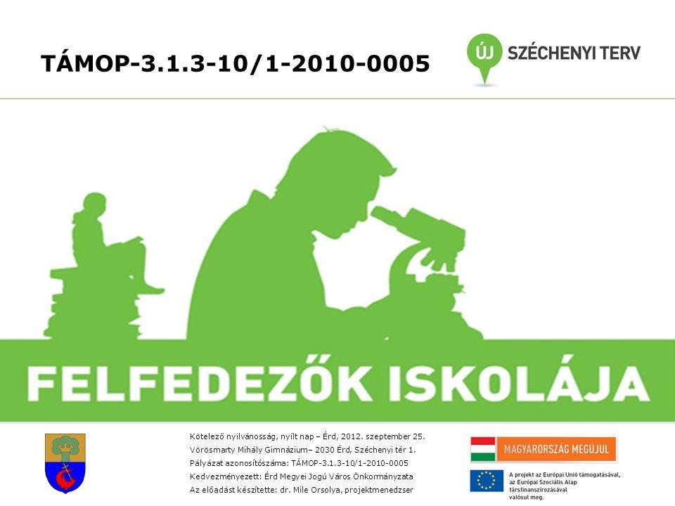 TÁMOP-3.1.3-10/1-2010-0005 Kötelező nyilvánosság, nyílt nap – Érd, 2012.