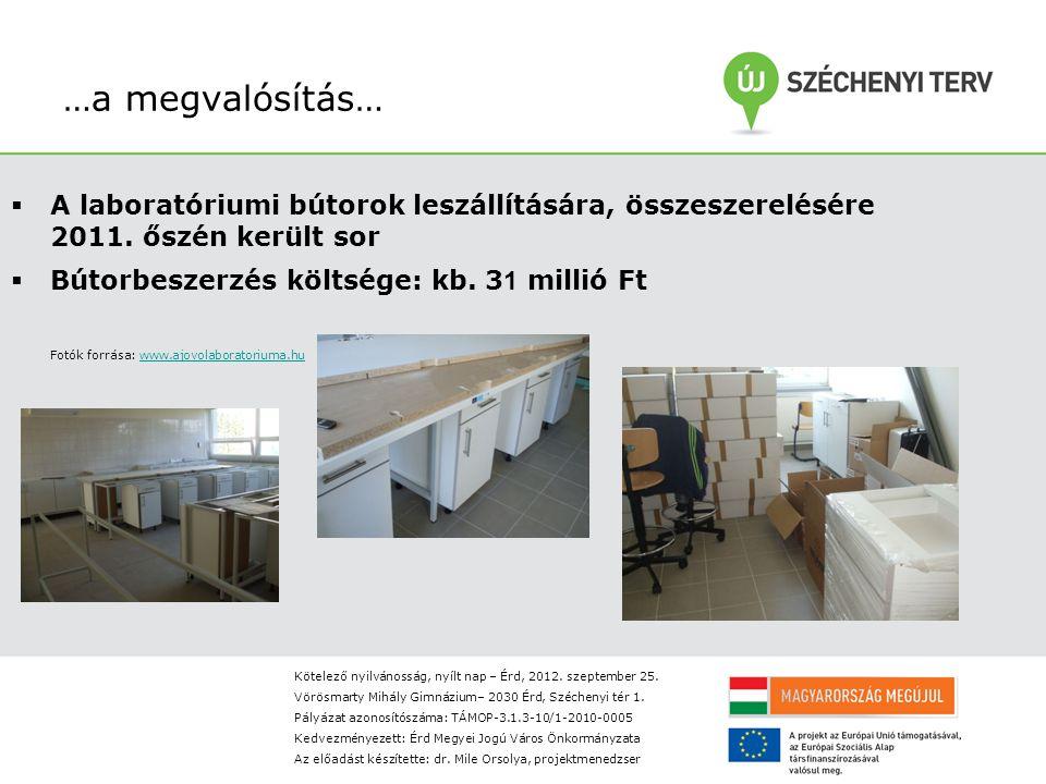 …a megvalósítás…  A laboratóriumi bútorok leszállítására, összeszerelésére 2011.