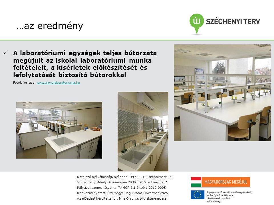 …az eredmény A laboratóriumi egységek teljes bútorzata megújult az iskolai laboratóriumi munka feltételeit, a kísérletek előkészítését és lefolytatását biztosító bútorokkal Fotók forrása: www.ajovolaboratoriuma.huwww.ajovolaboratoriuma.hu Kötelező nyilvánosság, nyílt nap – Érd, 2012.