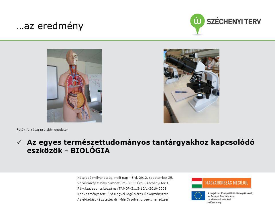 …az eredmény Fotók forrása: projektmenedzser Az egyes természettudományos tantárgyakhoz kapcsolódó eszközök - BIOLÓGIA Kötelező nyilvánosság, nyílt nap – Érd, 2012.