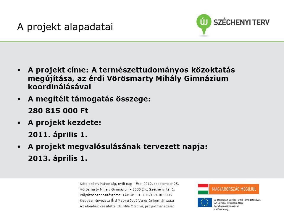 A projekt alapadatai  A projekt címe: A természettudományos közoktatás megújítása, az érdi Vörösmarty Mihály Gimnázium koordinálásával  A megítélt támogatás összege: 280 815 000 Ft  A projekt kezdete: 2011.