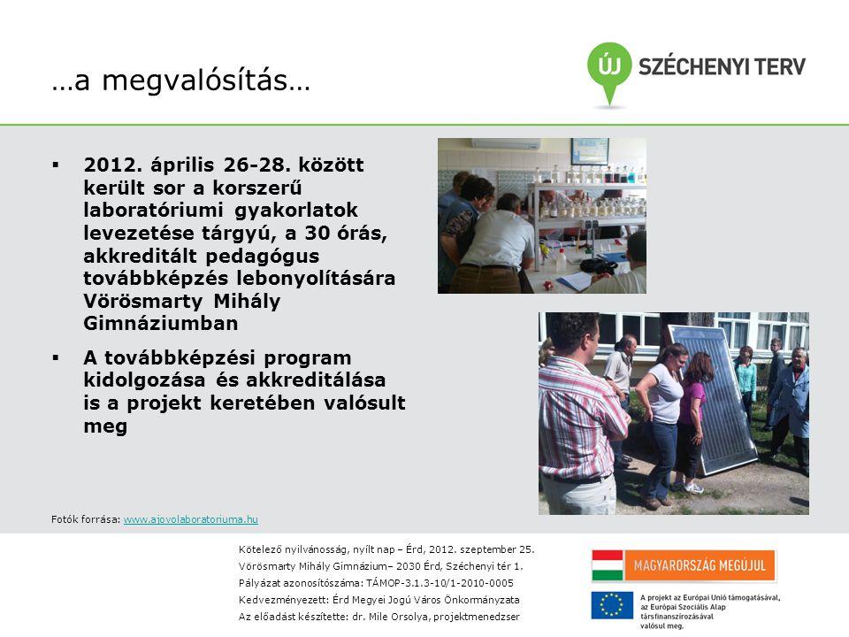 …a megvalósítás…  2012. április 26-28.