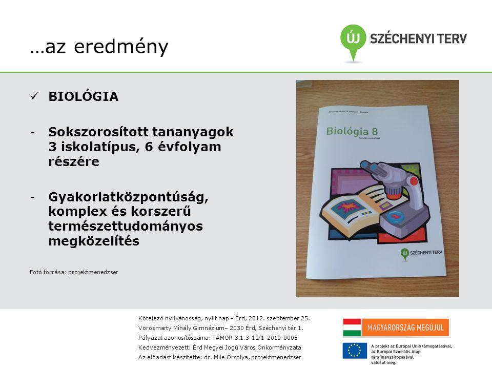 …az eredmény BIOLÓGIA -Sokszorosított tananyagok 3 iskolatípus, 6 évfolyam részére -Gyakorlatközpontúság, komplex és korszerű természettudományos megközelítés Fotó forrása: projektmenedzser Kötelező nyilvánosság, nyílt nap – Érd, 2012.