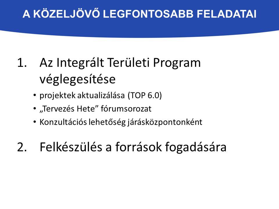 """A KÖZELJÖVŐ LEGFONTOSABB FELADATAI 1.Az Integrált Területi Program véglegesítése projektek aktualizálása (TOP 6.0) """"Tervezés Hete fórumsorozat Konzultációs lehetőség járásközpontonként 2.Felkészülés a források fogadására"""