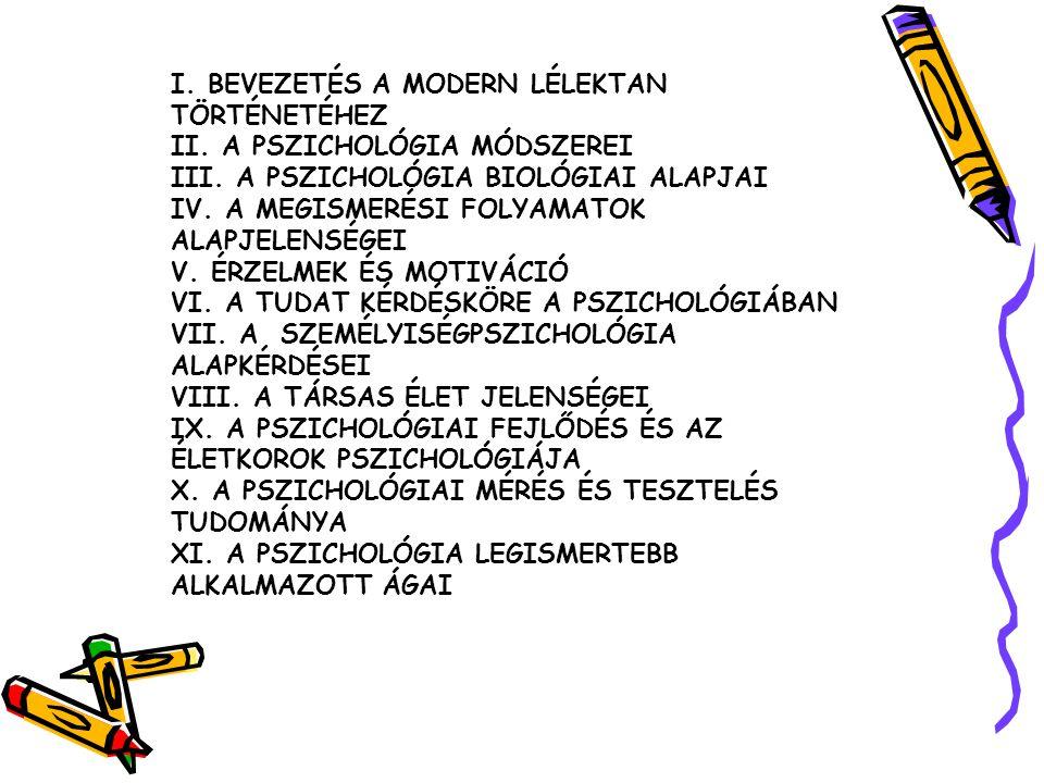 I. BEVEZETÉS A MODERN LÉLEKTAN TÖRTÉNETÉHEZ II. A PSZICHOLÓGIA MÓDSZEREI III. A PSZICHOLÓGIA BIOLÓGIAI ALAPJAI IV. A MEGISMERÉSI FOLYAMATOK ALAPJELENS