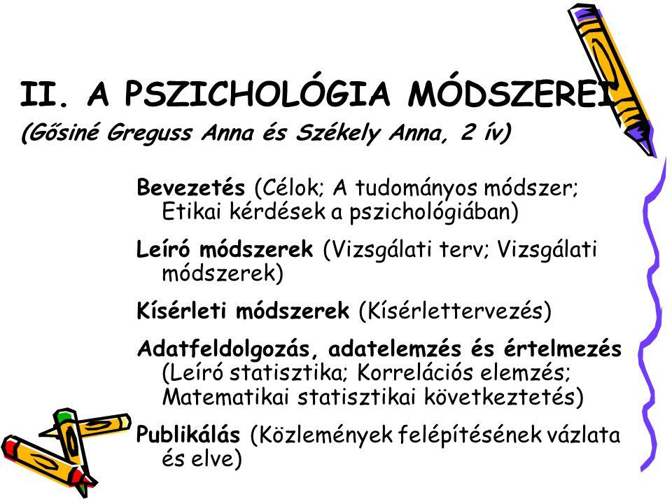 II. A PSZICHOLÓGIA MÓDSZEREI (Gősiné Greguss Anna és Székely Anna, 2 ív) Bevezetés (Célok; A tudományos módszer; Etikai kérdések a pszichológiában) Le