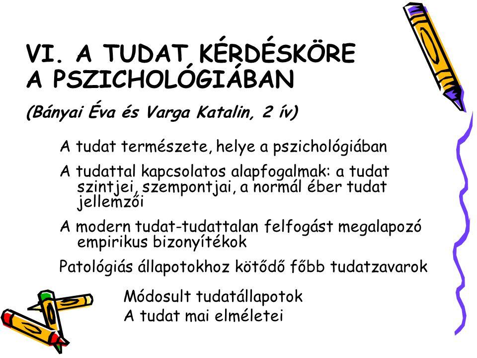 VI. A TUDAT KÉRDÉSKÖRE A PSZICHOLÓGIÁBAN (Bányai Éva és Varga Katalin, 2 ív) A tudat természete, helye a pszichológiában A tudattal kapcsolatos alapfo