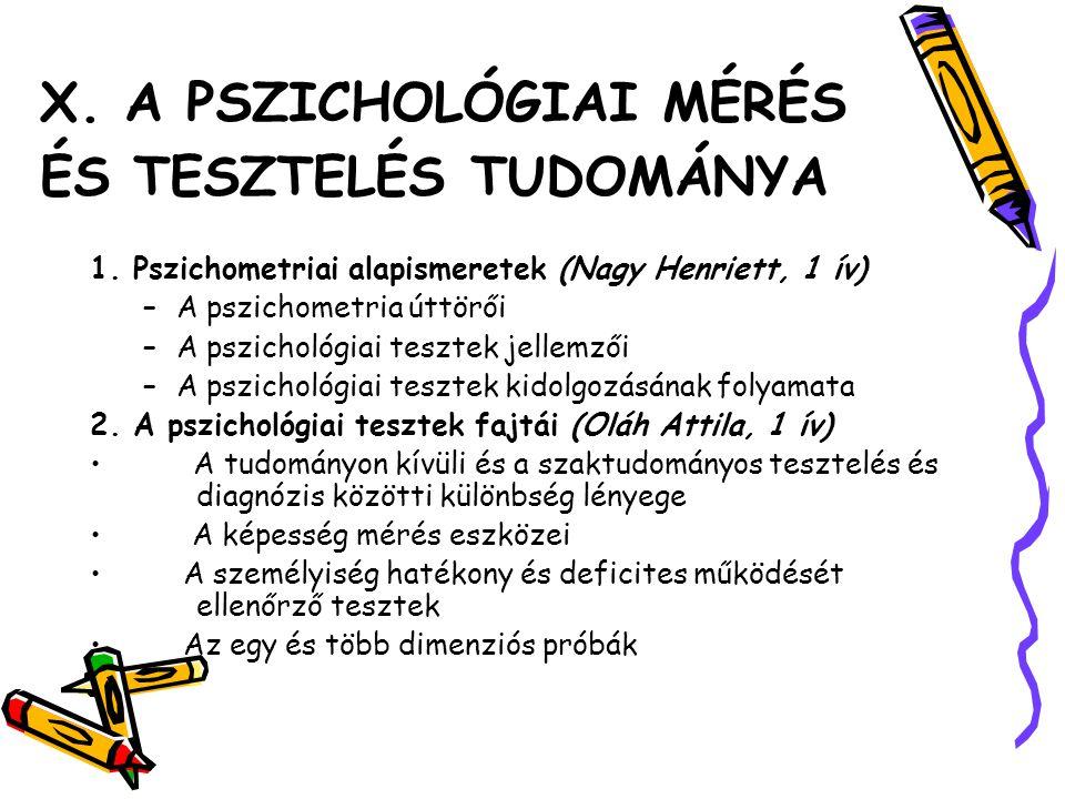 X. A PSZICHOLÓGIAI MÉRÉS ÉS TESZTELÉS TUDOMÁNYA 1. Pszichometriai alapismeretek (Nagy Henriett, 1 ív) –A pszichometria úttörői –A pszichológiai teszte
