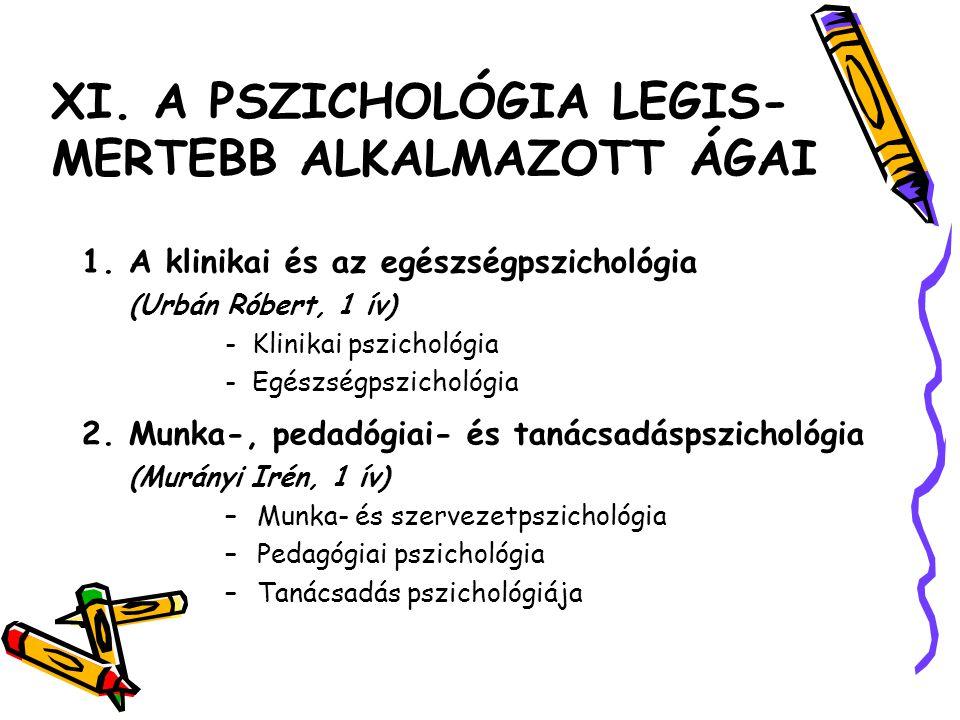 XI. A PSZICHOLÓGIA LEGIS- MERTEBB ALKALMAZOTT ÁGAI 1. A klinikai és az egészségpszichológia (Urbán Róbert, 1 ív) - Klinikai pszichológia - Egészségpsz