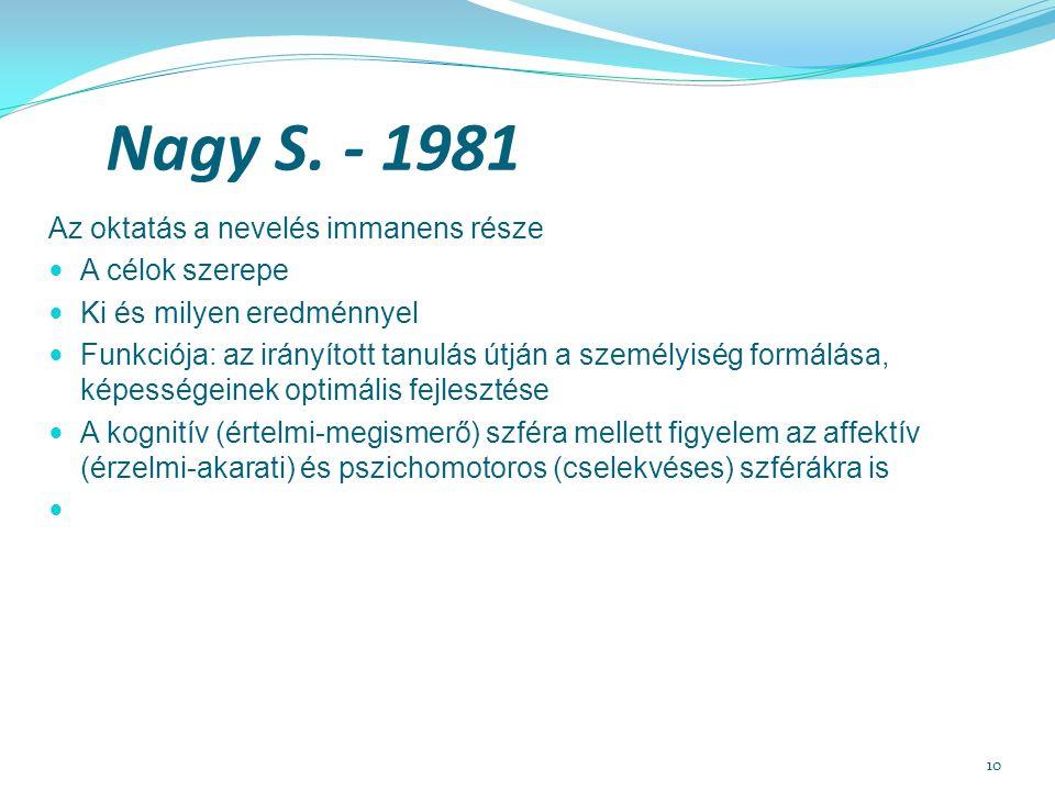 10 Nagy S. - 1981 Az oktatás a nevelés immanens része A célok szerepe Ki és milyen eredménnyel Funkciója: az irányított tanulás útján a személyiség fo