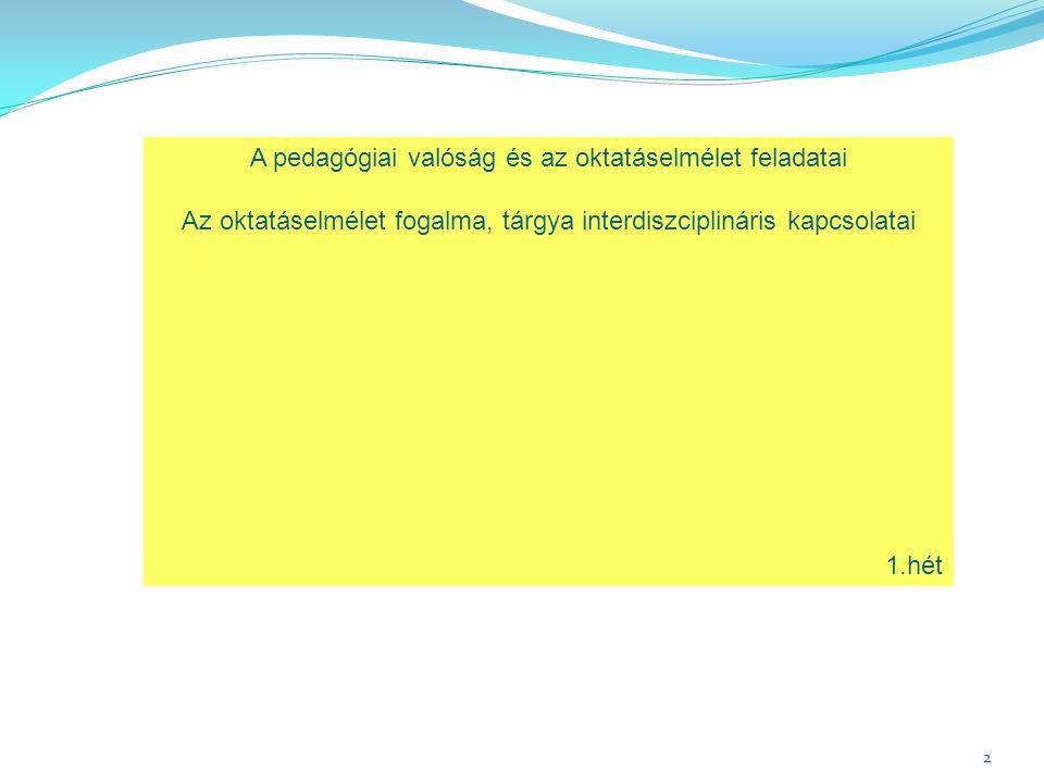 2 A pedagógiai valóság és az oktatáselmélet feladatai Az oktatáselmélet fogalma, tárgya interdiszciplináris kapcsolatai 1.hét