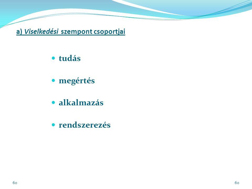 60 a) Viselkedési szempont csoportjai tudás megértés alkalmazás rendszerezés