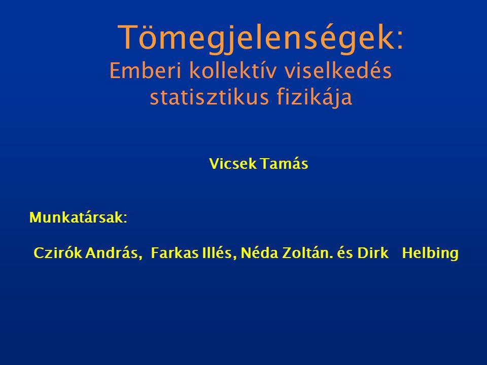 Tömegjelenségek: Emberi kollektív viselkedés statisztikus fizikája Vicsek Tamás Munkatársak: Czirók András, Farkas Illés, Néda Zoltán.