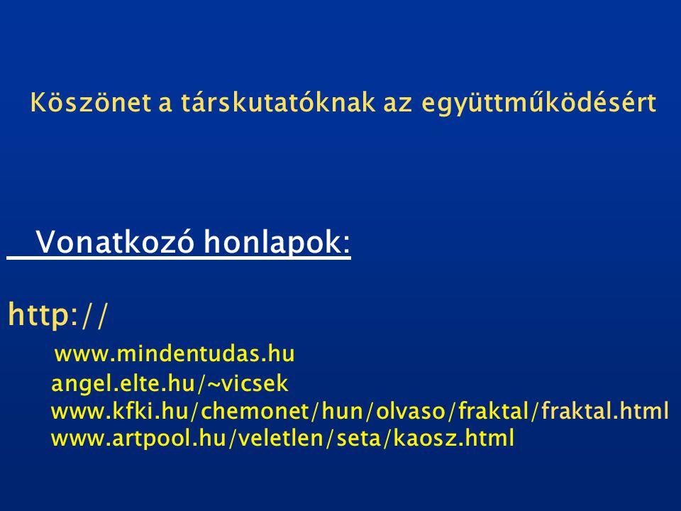 Köszönet a társkutatóknak az együttműködésért Vonatkozó honlapok: http:// www.mindentudas.hu angel.elte.hu/~vicsek www.kfki.hu/chemonet/hun/olvaso/fraktal/fraktal.html www.artpool.hu/veletlen/seta/kaosz.html