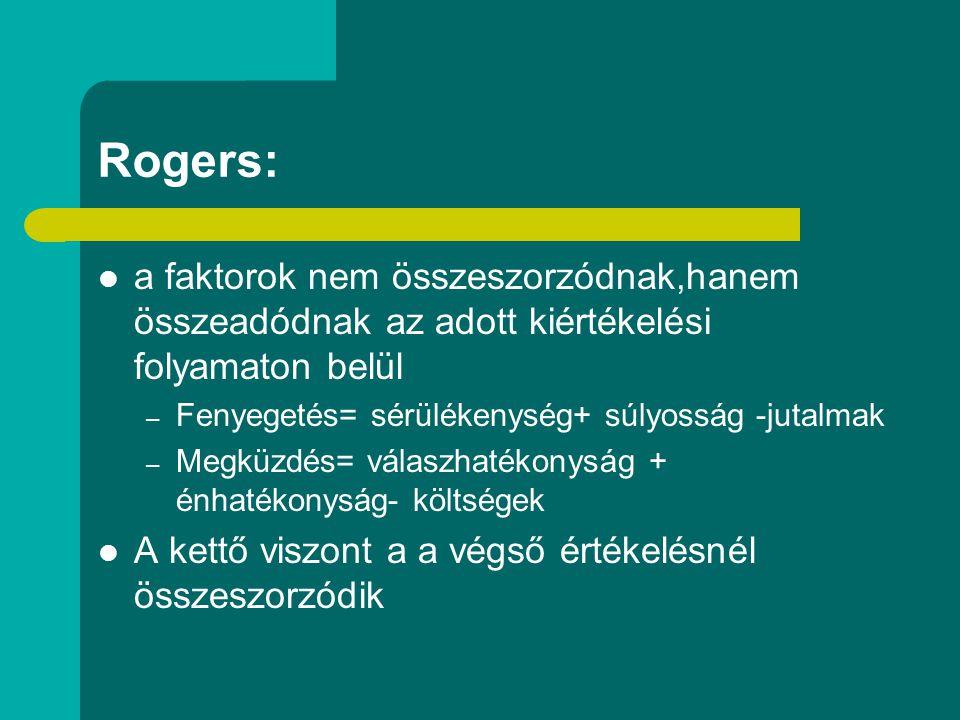 Rogers: a faktorok nem összeszorzódnak,hanem összeadódnak az adott kiértékelési folyamaton belül – Fenyegetés= sérülékenység+ súlyosság -jutalmak – Me