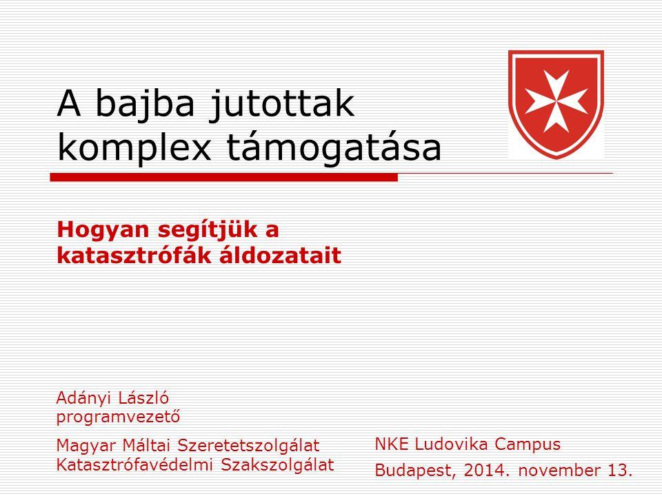 A bajba jutottak komplex támogatása Hogyan segítjük a katasztrófák áldozatait Budapest, 2014.