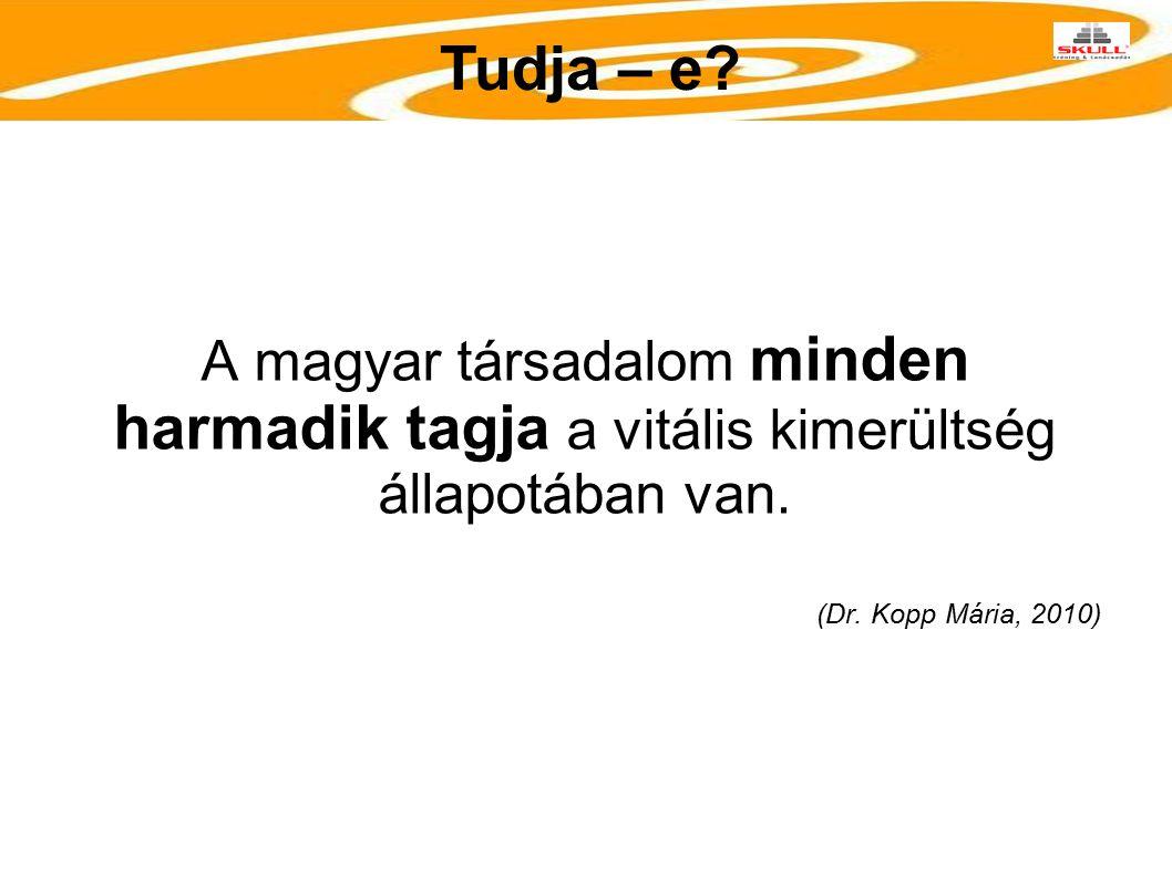 A magyar társadalom minden harmadik tagja a vitális kimerültség állapotában van. (Dr. Kopp Mária, 2010) Tudja – e?