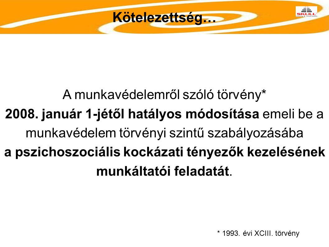Kötelezettség… A munkavédelemről szóló törvény* 2008. január 1-jétől hatályos módosítása emeli be a munkavédelem törvényi szintű szabályozásába a pszi