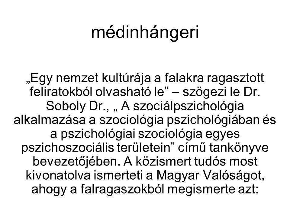 """médinhángeri """"Egy nemzet kultúrája a falakra ragasztott feliratokból olvasható le"""" – szögezi le Dr. Soboly Dr., """" A szociálpszichológia alkalmazása a"""