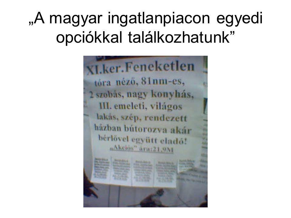 """""""A magyar ingatlanpiacon egyedi opciókkal találkozhatunk"""
