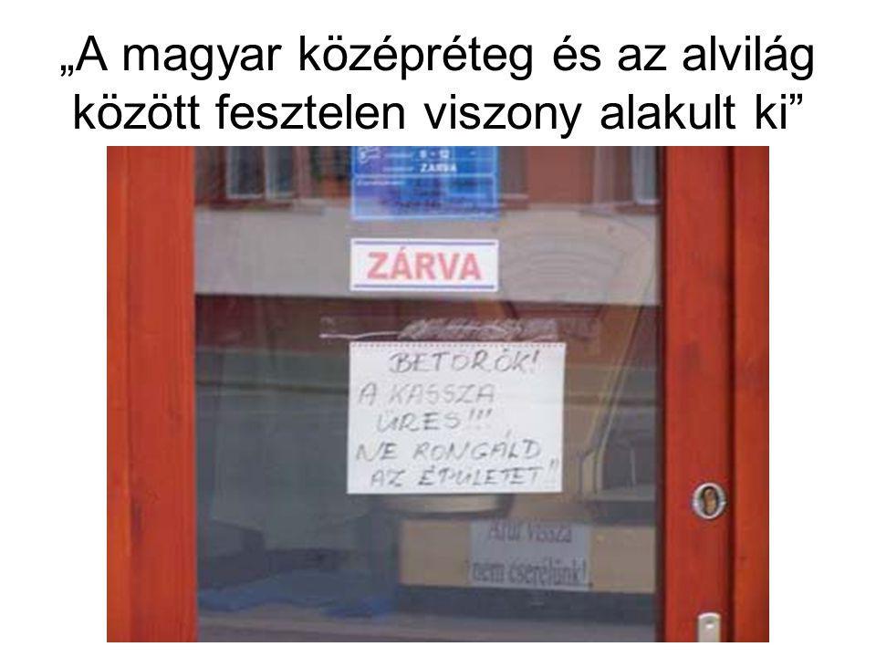 """""""A magyar középréteg és az alvilág között fesztelen viszony alakult ki"""