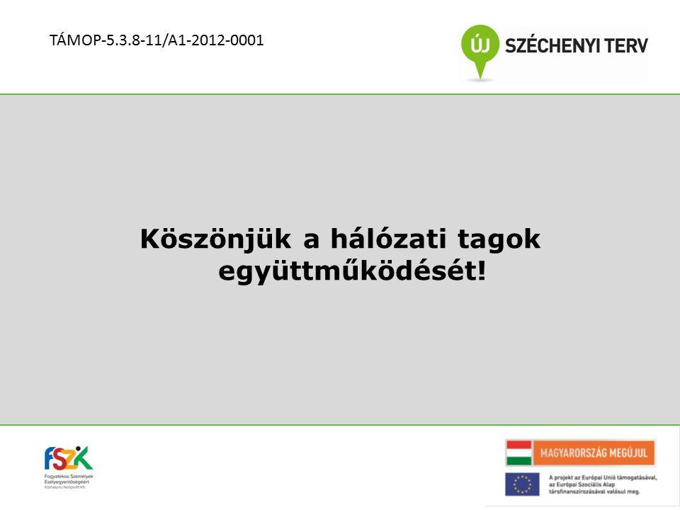 Köszönjük a hálózati tagok együttműködését! TÁMOP-5.3.8-11/A1-2012-0001