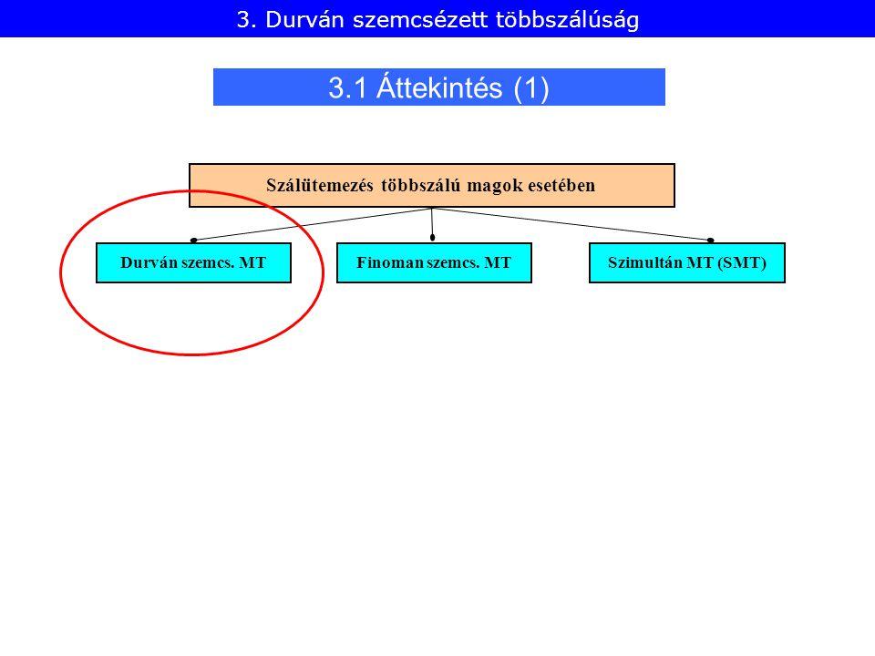 3.1 Áttekintés (1) Durván szemcs. MT Finoman szemcs. MT Szimultán MT (SMT) Szálütemezés többszálú magok esetében 3. Durván szemcsézett többszálúság