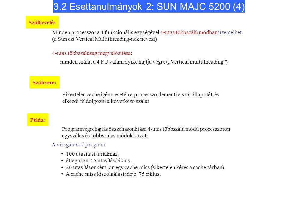 3.2 Esettanulmányok 2: SUN MAJC 5200 (4) Minden processzor a 4 funkcionális egységével 4-utas többszálú módban üzemelhet. (a Sun ezt Vertical Multithr