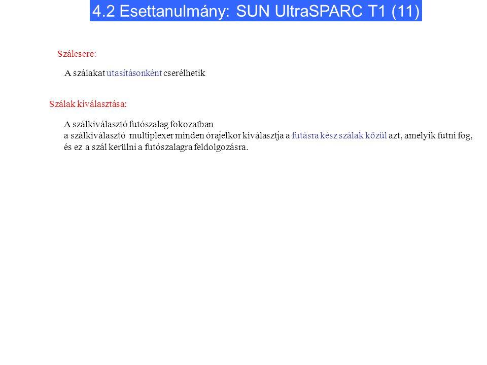 4.2 Esettanulmány: SUN UltraSPARC T1 (11) Szálcsere: A szálakat utasításonként cserélhetik A szálkiválasztó futószalag fokozatban a szálkiválasztó mul