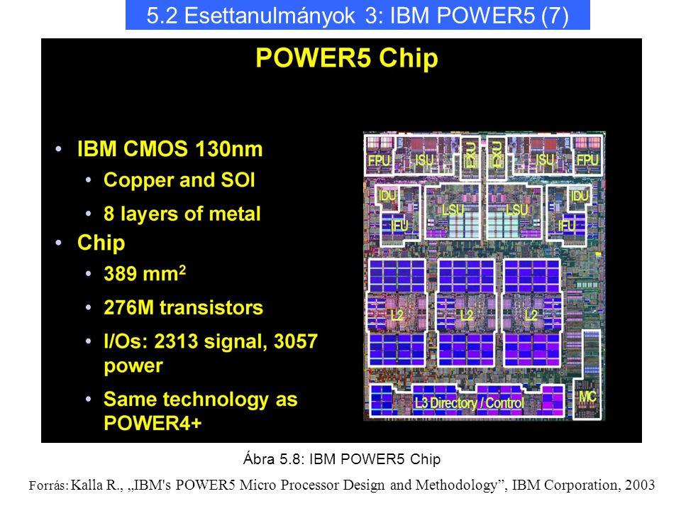 "5.2 Esettanulmányok 3: IBM POWER5 (7) Ábra 5.8: IBM POWER5 Chip Forrás: Kalla R., ""IBM's POWER5 Micro Processor Design and Methodology"", IBM Corporati"