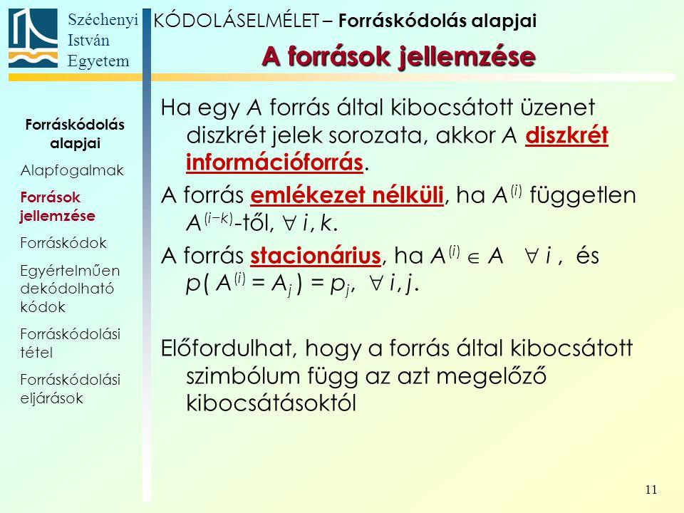 Széchenyi István Egyetem 11 Ha egy A forrás által kibocsátott üzenet diszkrét jelek sorozata, akkor A diszkrét információforrás. A forrás emlékezet né
