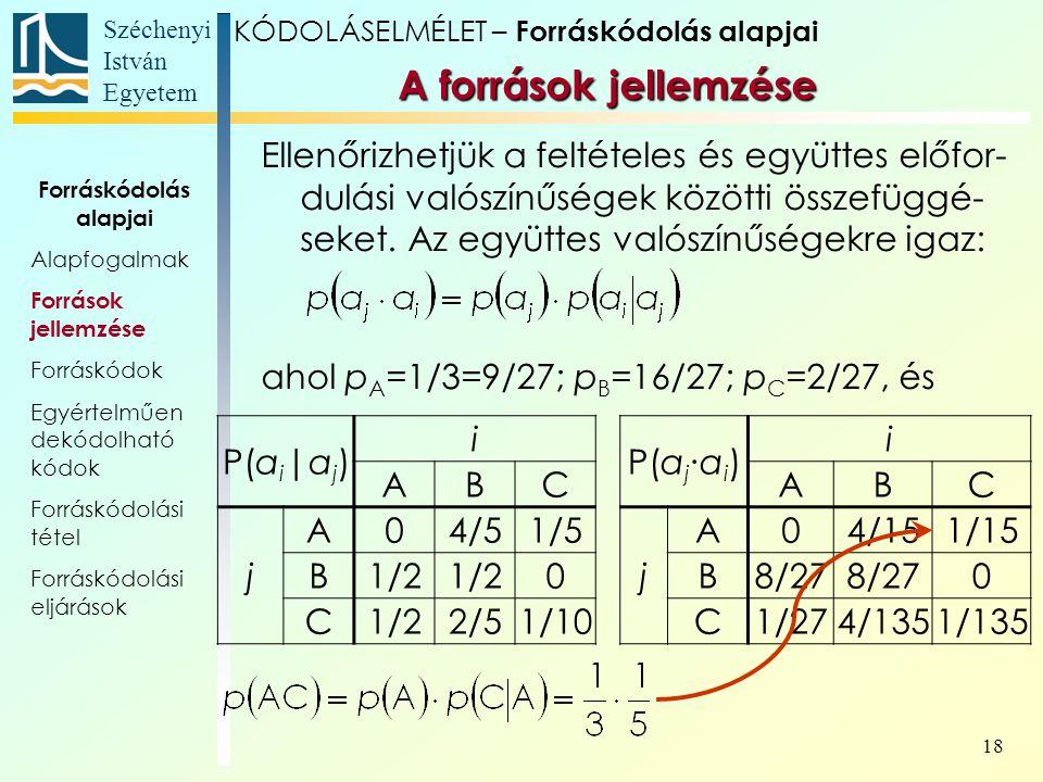 Széchenyi István Egyetem 18 Ellenőrizhetjük a feltételes és együttes előfor- dulási valószínűségek közötti összefüggé- seket. Az együttes valószínűség