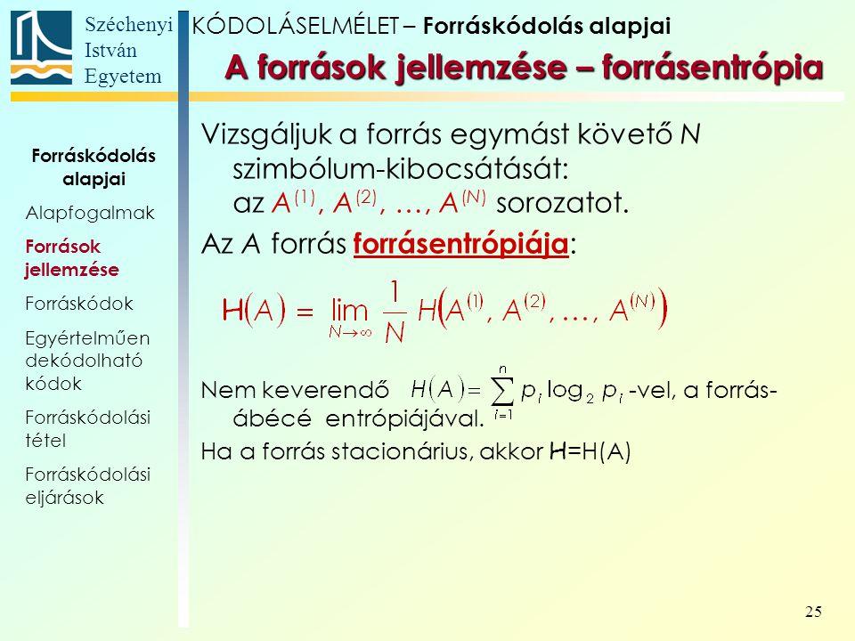 Széchenyi István Egyetem 25 A források jellemzése – forrásentrópia Vizsgáljuk a forrás egymást követő N szimbólum-kibocsátását: az A (1), A (2), …, A