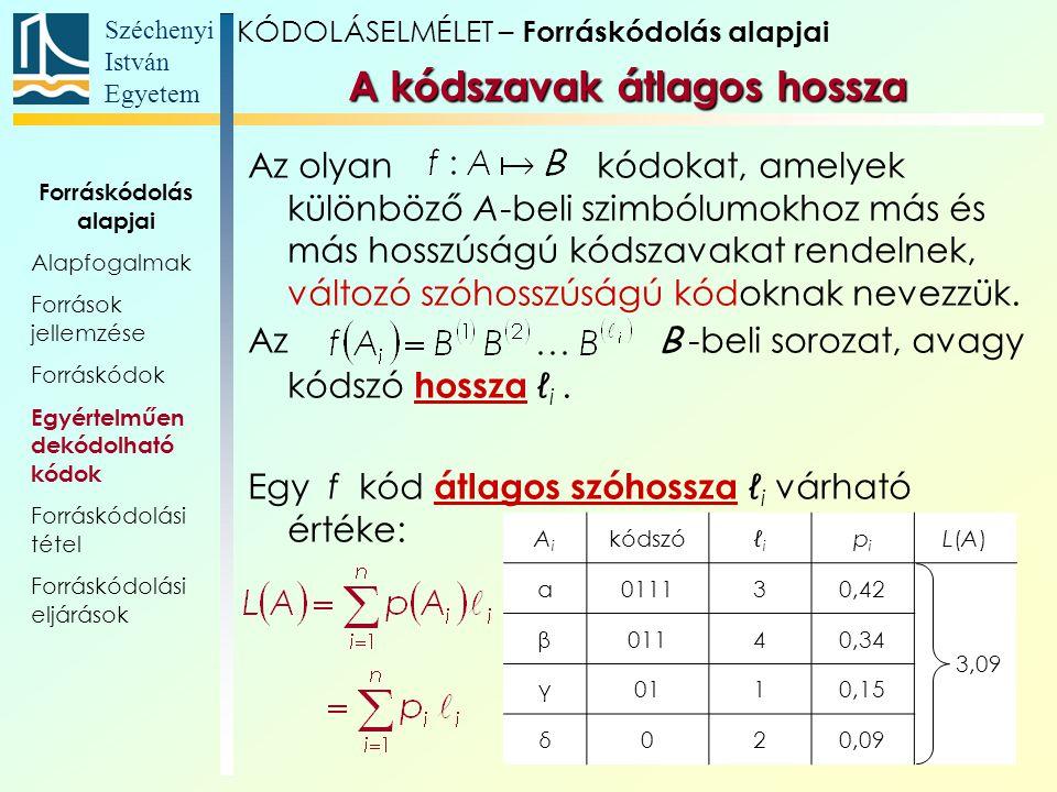 Széchenyi István Egyetem 30 AiAi kódszóℓiℓi pipi L(A)L(A) α011130,42 3,09 β01140,34 γ0110,15 δ020,09 Az olyan kódokat, amelyek különböző A-beli szimbó