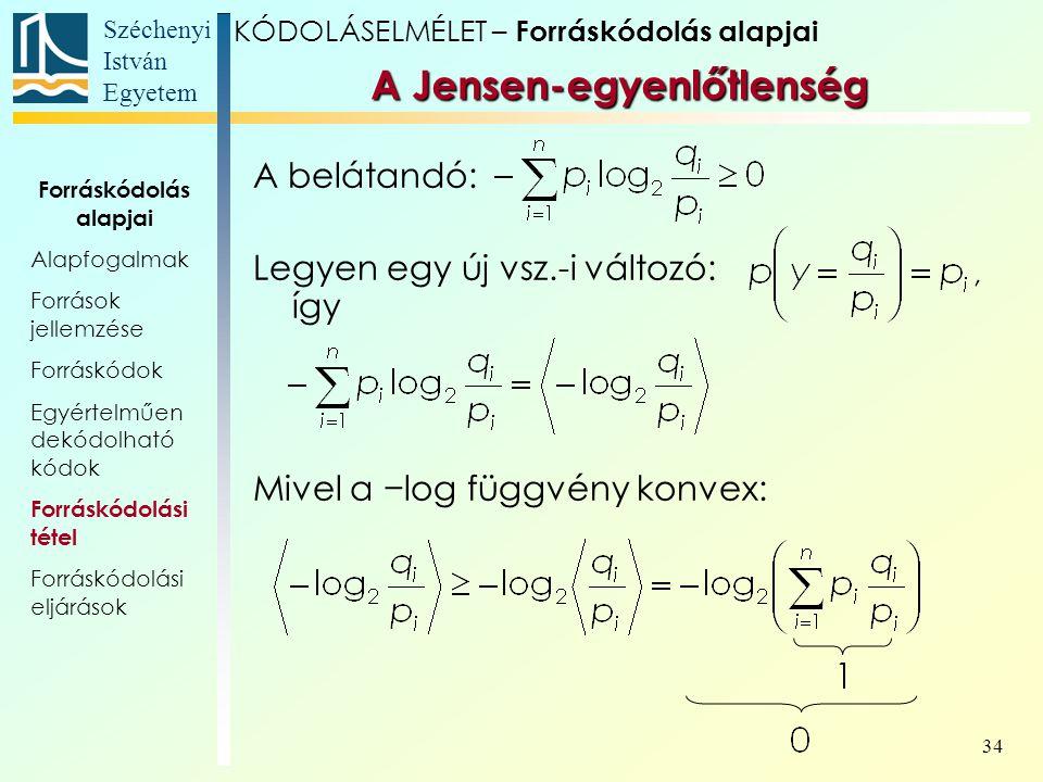 Széchenyi István Egyetem 34 A Jensen-egyenlőtlenség A belátandó: Legyen egy új vsz.-i változó: így Mivel a −log függvény konvex: KÓDOLÁSELMÉLET – Forr