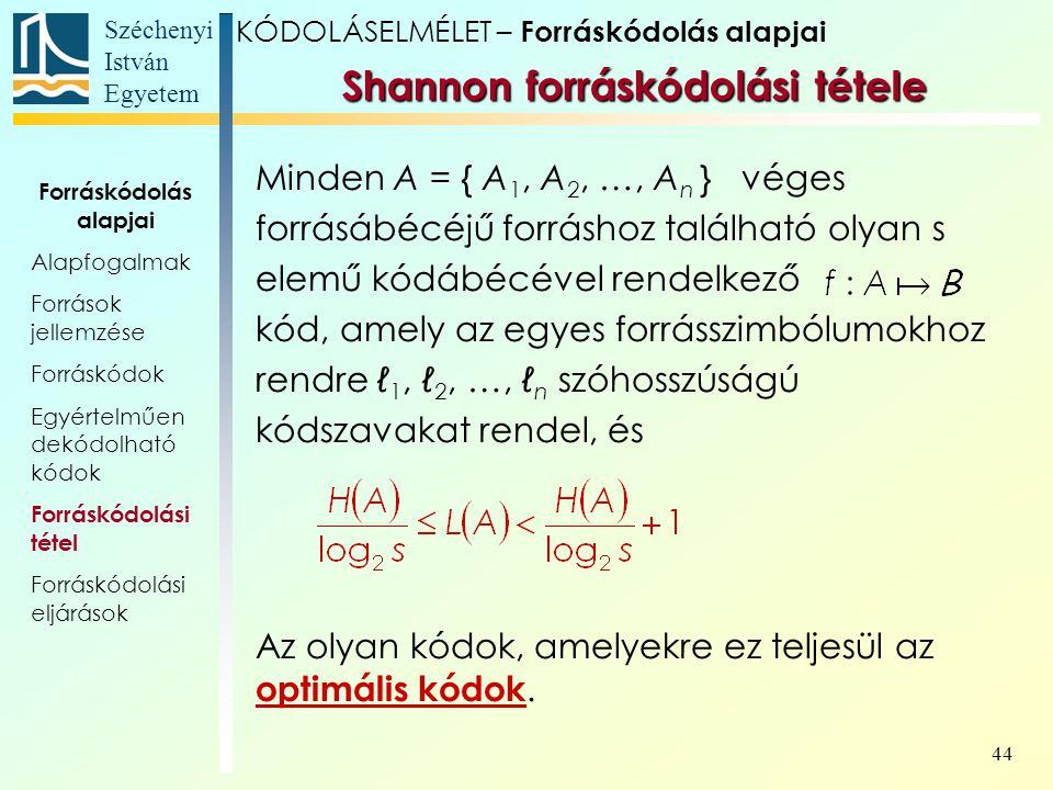 Széchenyi István Egyetem 44 Minden A = { A 1, A 2, …, A n } véges forrásábécéjű forráshoz található olyan s elemű kódábécével rendelkező kód, amely az