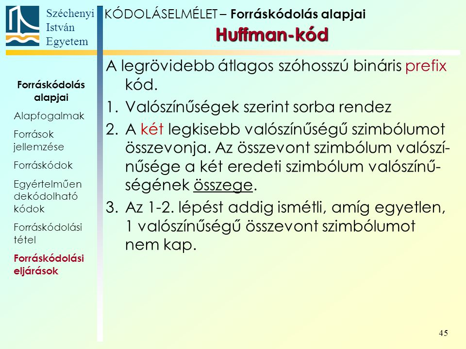 Széchenyi István Egyetem 45 KÓDOLÁSELMÉLET – Forráskódolás alapjai Huffman-kód A legrövidebb átlagos szóhosszú bináris prefix kód. 1.Valószínűségek sz
