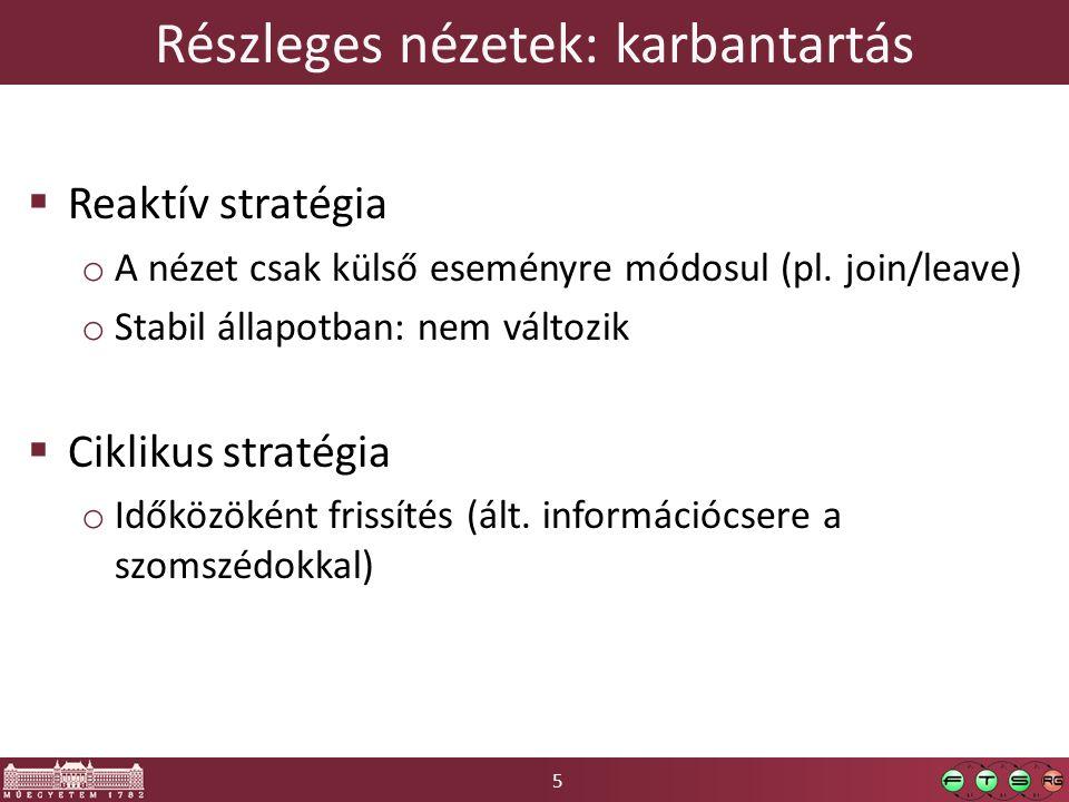 5 Részleges nézetek: karbantartás  Reaktív stratégia o A nézet csak külső eseményre módosul (pl. join/leave) o Stabil állapotban: nem változik  Cikl